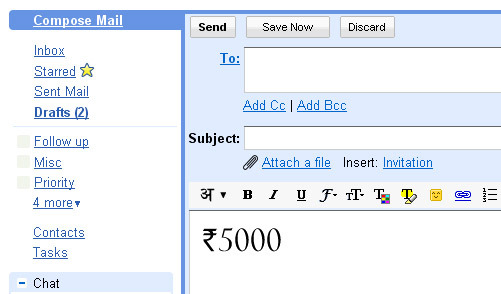 rupee font in Gmail