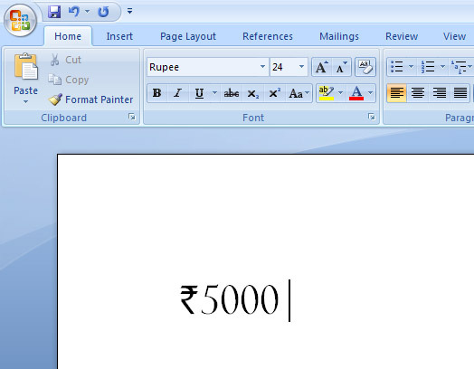 rupee font in Microsoft Word
